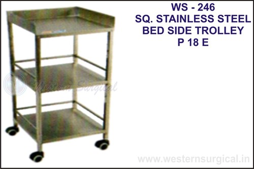 Sq. Stainless Steel Bed Side Trolley