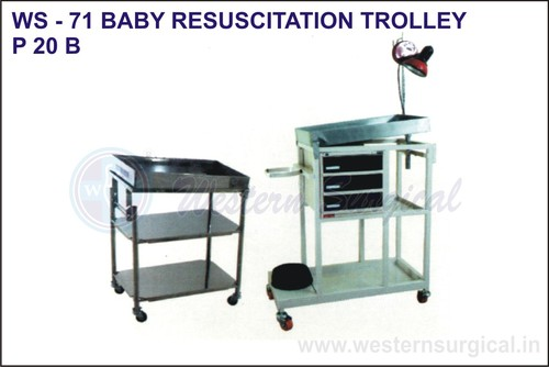 Baby Resuscitation Trolley Material: Stainsteel