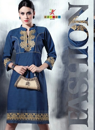 Denim Embroidery Kurti