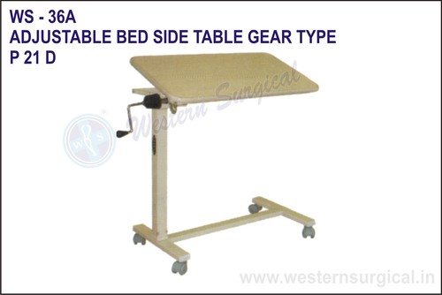 Adjustable Bed Side Table Gear Type