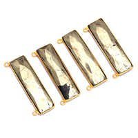 Gold Plated Pyrite Sterling Silver Rectangle Pendant