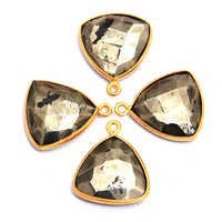 Gold Plated Pyrite Triangle Shape Pendant