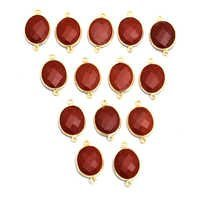 Gold Plated Red Agate Sterling Silver Connectors