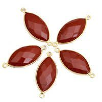 Gold Plated Red Agate Marquise Connector