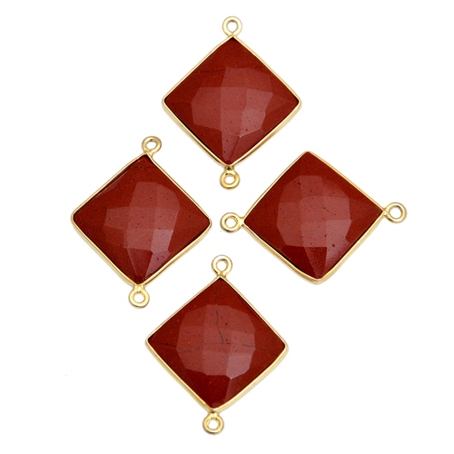 Sterling Silver Red Agate Gold Plated Connector