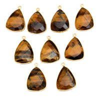 Sterling Silver Tiger Eye Gold Plated Pendant