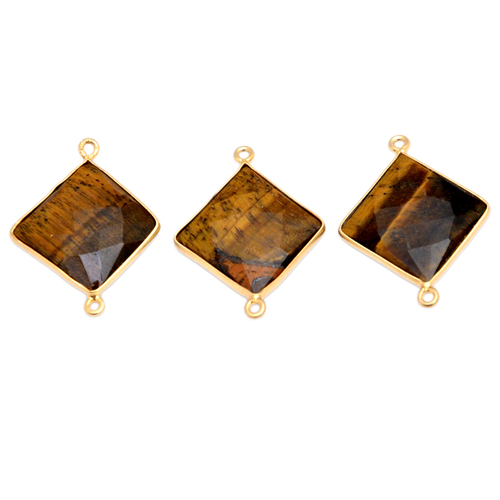 Tiger Eye Gold Plated Bezel Connector