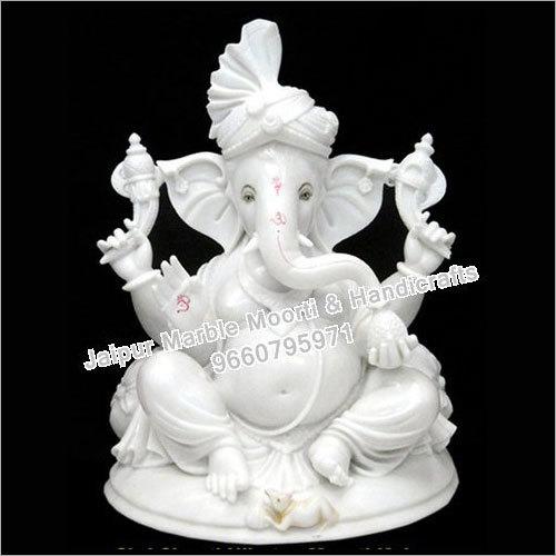 4 Hands Marble Ganesh Statue
