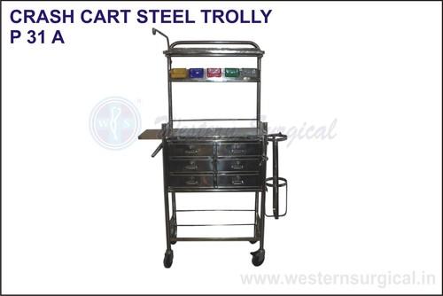 Crash Cart Steel Trolly Hospital Trolley