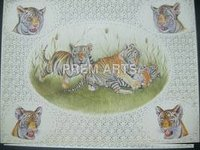 Tiger Painting On Carved Plate