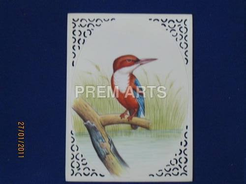 Kingfisher Painting on Carved Plate