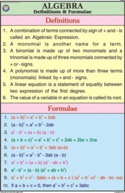 Algebra Definitions & formulae For Mathematics