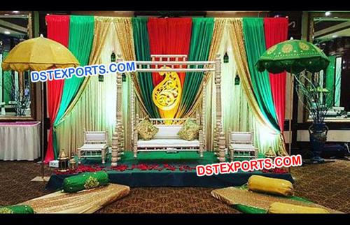 Colourful Pakistani Wedding Swing Stage