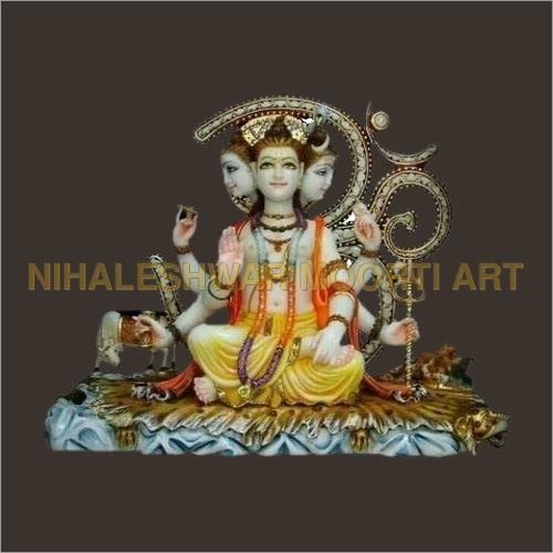 Tri Mukhi Shiva Marble Statue