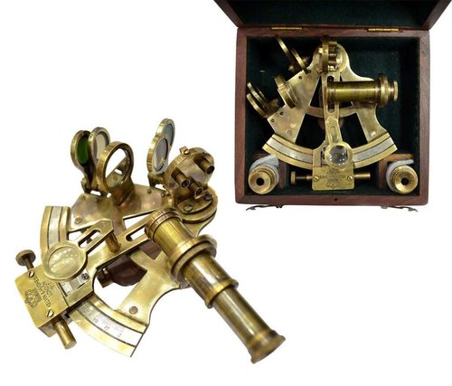 Replica Sextant in Wooden Box With Two Telescopes Maritime Decor