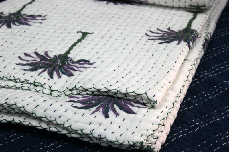 Kantha Quilt Hand Block Printed Kantha Quilt
