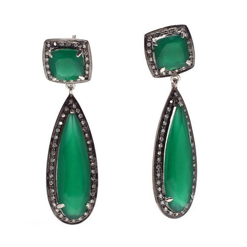 Green Onyx Cubic Zirconia Earrings