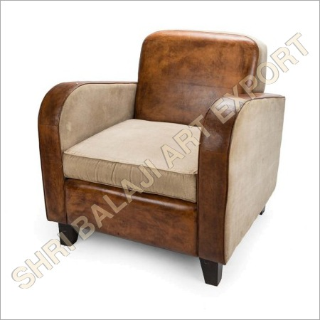 Pouf and Leather Canvas Sofa
