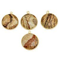 Picture Jasper Gold Plated Round Pendant