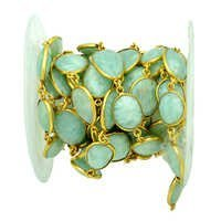 Sterling Silver Amazonite Gold Plated Station Chain