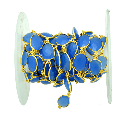 Blue Chalcedony Gold Plated Station Chain