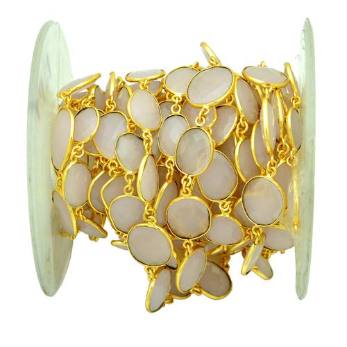 Rose Quartz Gold Plated Bezel Chain