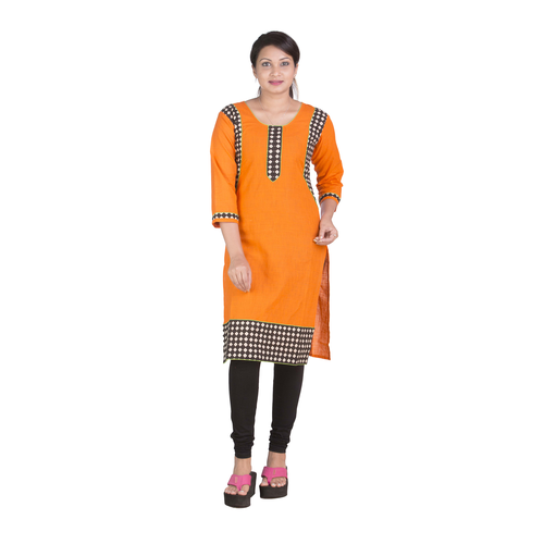 Cotton Yellow Regular Kurti