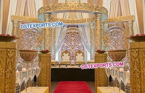 Fully Carved Golden Wedding Mandap