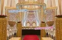 Fully Carved Golden Wedding Mandap