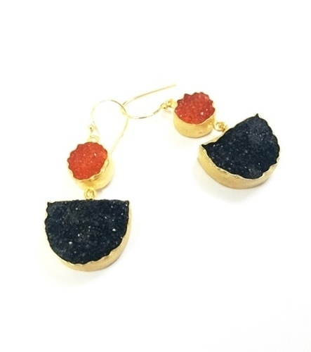 Gold Plated Druzy Hook Earrings