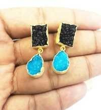 Blue and Black Druzy Trendy Earrings