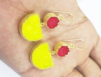 Red and Yellow Druzy Gold Plated Earring