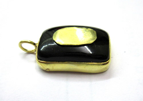 Black Onyx Metal Pendant