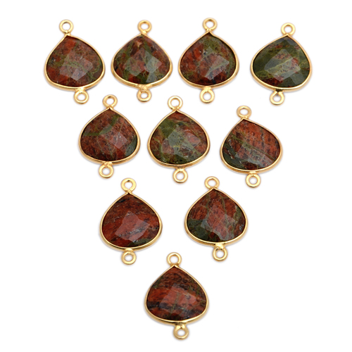 Sterling Silver Unakite Gold Plated Heart Shape Connector