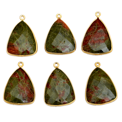 Unakite Gold Plated Pendant