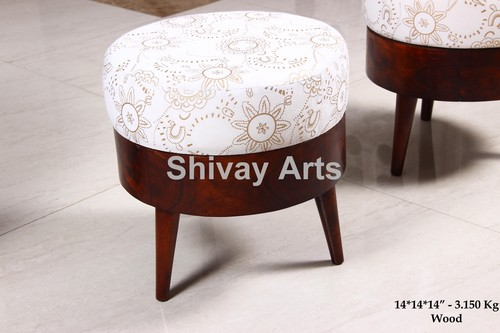Sheesham Wood Round Pouffe Ottoman Lowseat Stool Chair for sitting