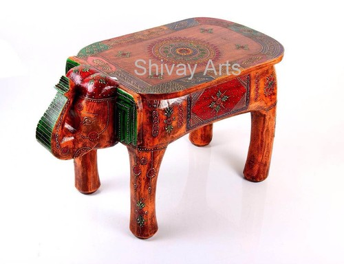 Wooden Handcrafted Fine Embossed Elephant Stool Sitting Stool