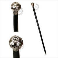 Nautical Chrome Diver's Helmet Walking Stick