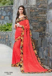 Floral Border Printed Saree