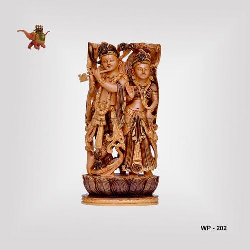 Wooden Antique Finish Radha Krishna
