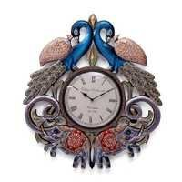 Wooden Wall Clock in Peacock Shape