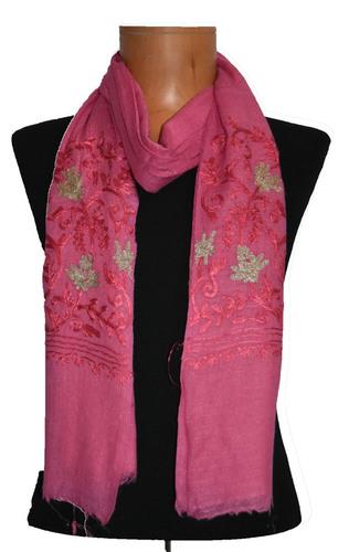 Wool Modal Zari Embroidery Palla Scarf