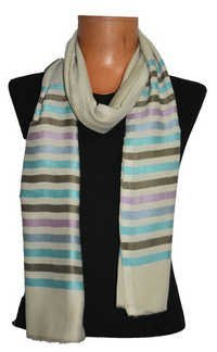 Fine Wool Silk Stripes Stole