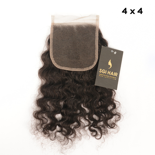 Indian Temple Remy Hair- Deep Wave Closure