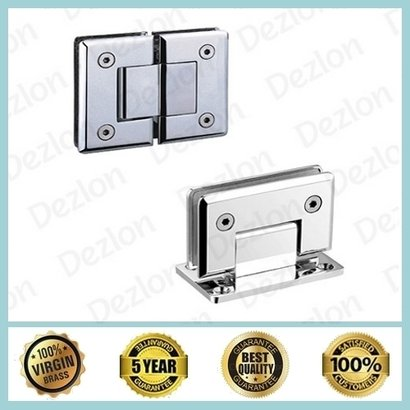 Silver Brass Shower Hinges