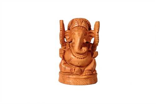 Antique Wooden Open Ganesh 3''