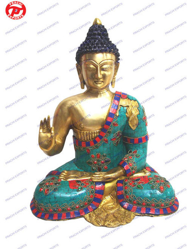 Buddha Sitting Carved B/ Hand W/ Stone  & Wire Bee