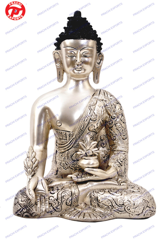 Buddha Dragon Carved in Antique Silver