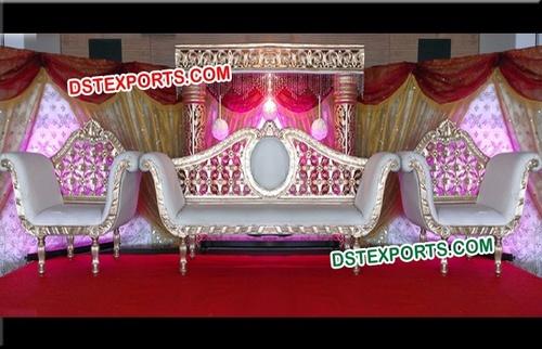 Wedding Designer Silver Carved Sofa Set