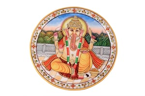 Antique Marble Ganesh Printed Plate